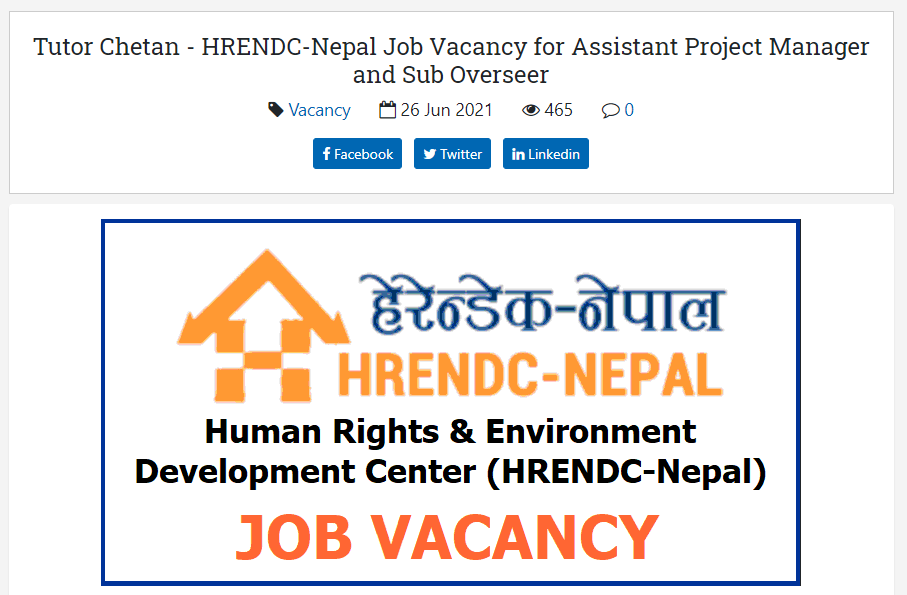 Tutor Chetan - HRENDC-Nepal Job Vacancy for Assistant Project Manager and Sub Overseer
