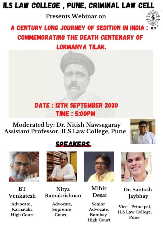 [Online] Webinar on A Century Long Journey of Sedition in India by Indian Law Society's Law College [Register Soon]