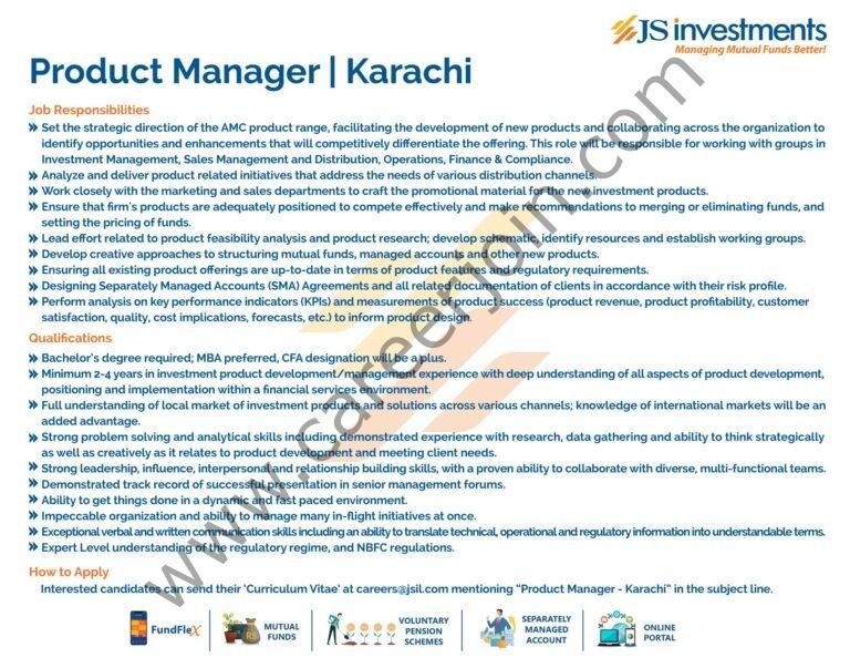 careers@jsil.com - JS Investments Ltd Jobs 2021 in Pakistan