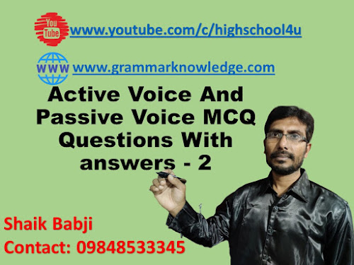 Active Voice And Passive Voice MCQ Questions With answers - 2