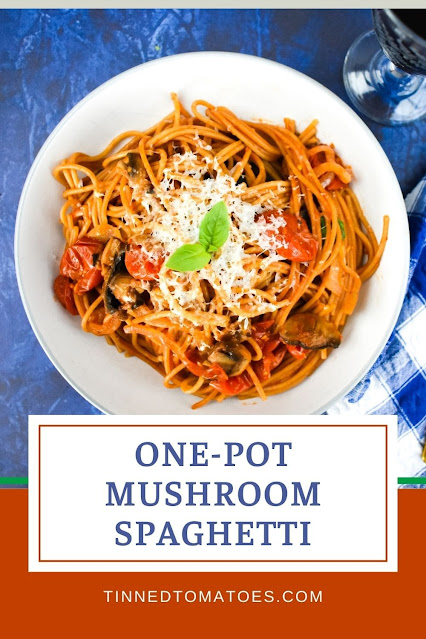 An easy one-pot mushroom and cherry tomato spaghetti. It has so much flavour, it's super easy to make and there's less washing up. A must-have recipe.