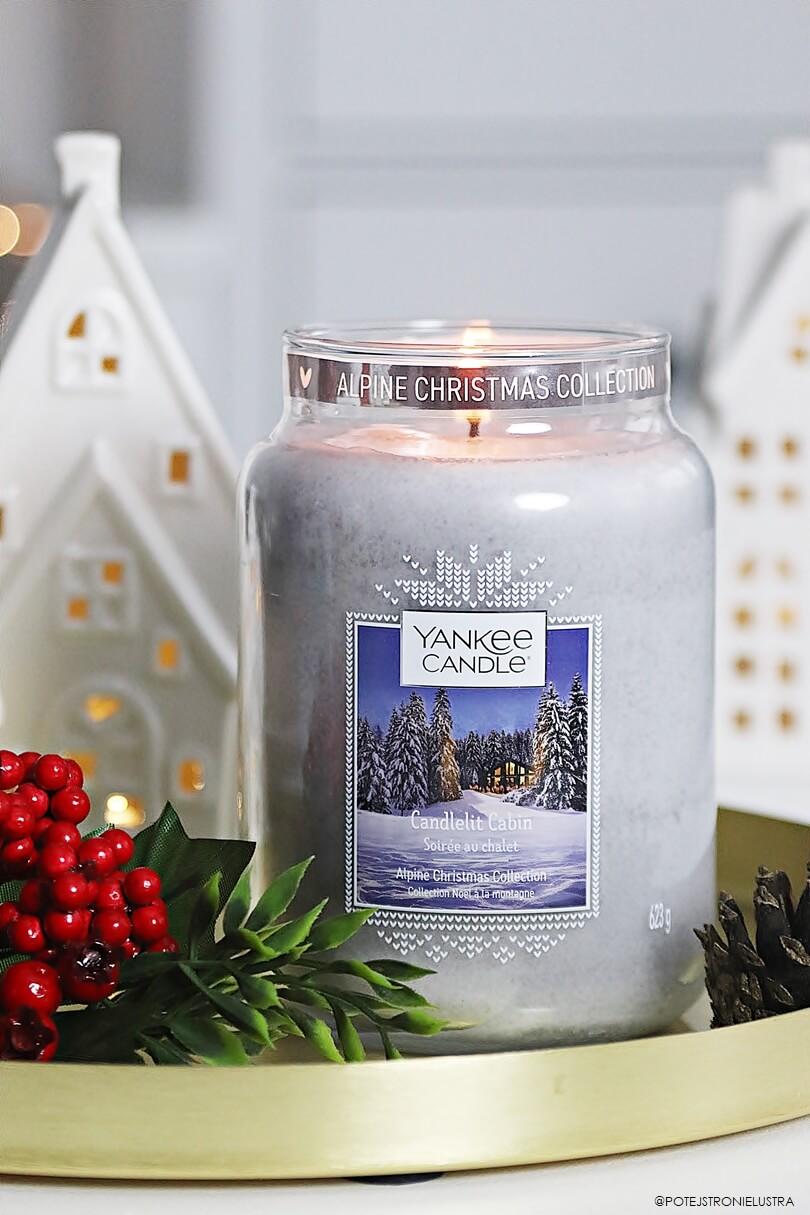 świeca yankee candle candlelit cabin z zimowej kolekcji alpine christmas na święta 2019