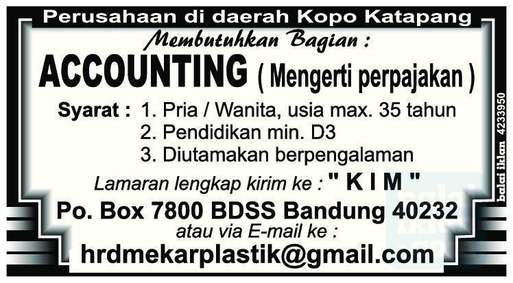 Lowongan Kerja Akunting Kopo Katapang Bandung Juni 2016