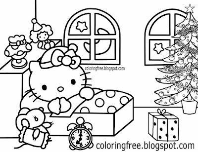 Sweet dreams bedtime story night of Christmas hello kitty coloring pictures cool drawing suggestions