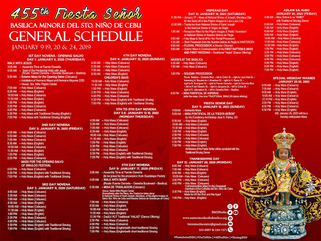 Sinulog 2020 - General Schedule. Image from santoninodecebubasilica.org