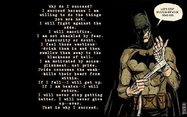 #Frase ¿Por qué tengo éxito? #Batman #BatmanDay No hagas lo que los demás hacen...