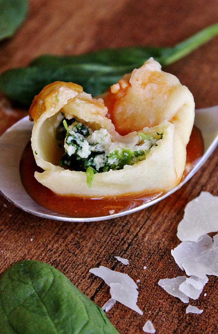Homemade spinach ricotta tortellini