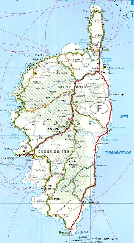 Mapa da Ilha de Córsega