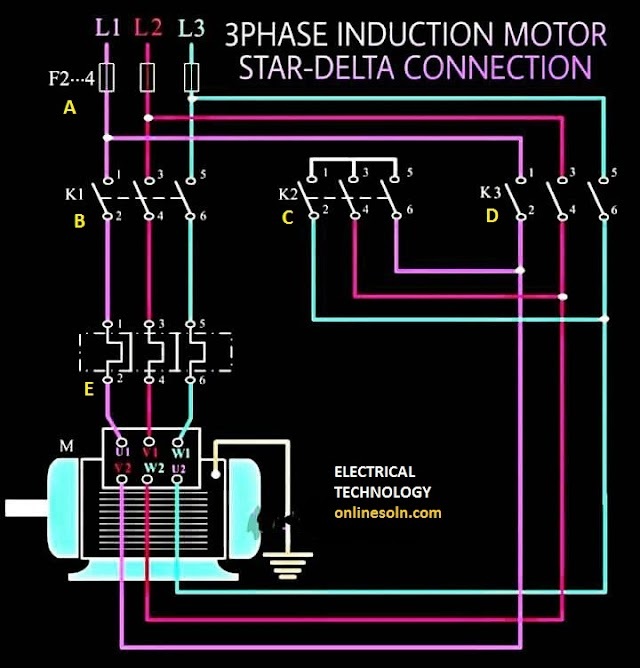 3 PHASE INDUCTION MOTOR STAR-DELTA CONNECTION