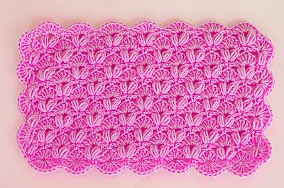 4 - Crochet IMAGEN Punto de abanico combinado con punto puff