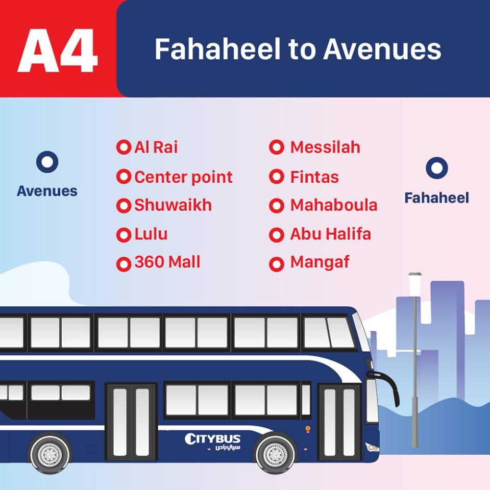 A4 Kuwait Bus Route A4 Fahaheel to Avenues, KuwaitBusA4, iiQ8 1