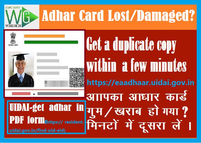 Aadhar card Lost? Download Aadhaar Card Pdf