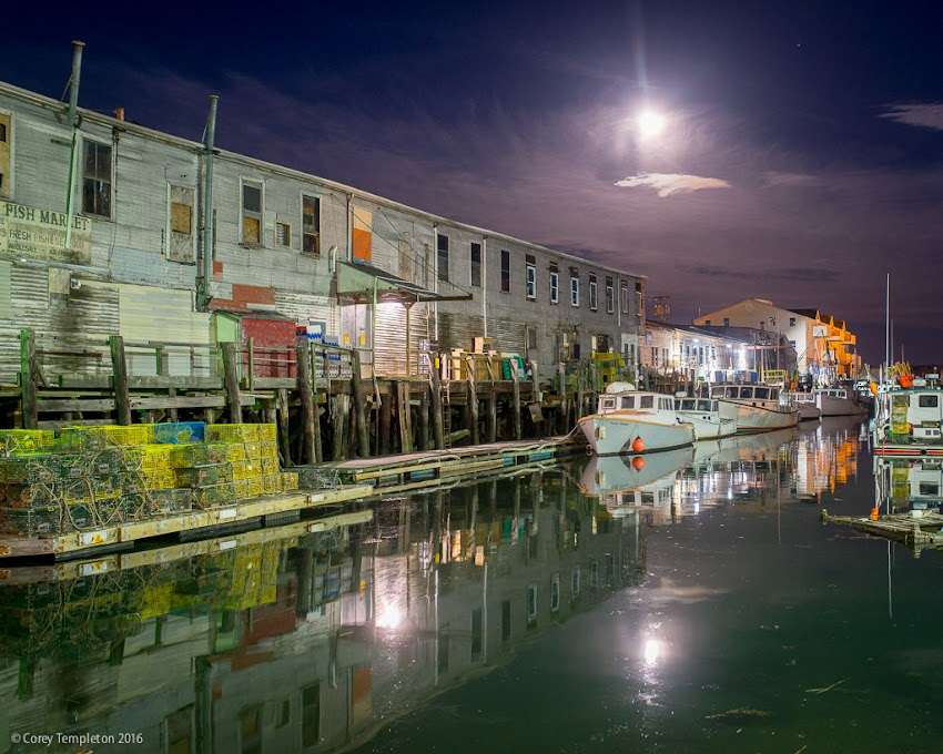 Portland, Maine April 2016 photo by Corey Templeton. A recent nighttime shot along Custom House Wharf with the moon up above.