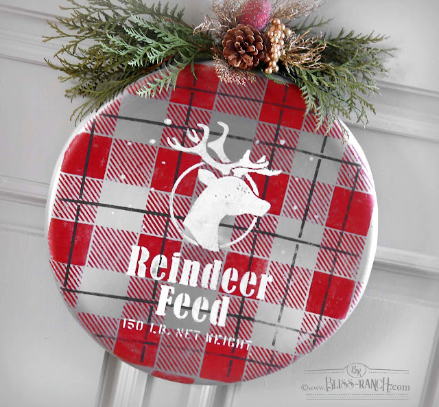 Recycled Metal Stool Seat Into Christmas Door Wreath Bliss-Ranch.com