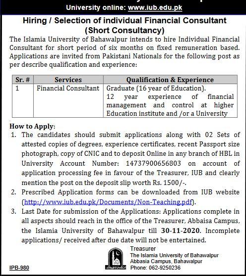 Financial Consultant Jobs at Islamia University of Bahawalpur Nov 2020 apply now