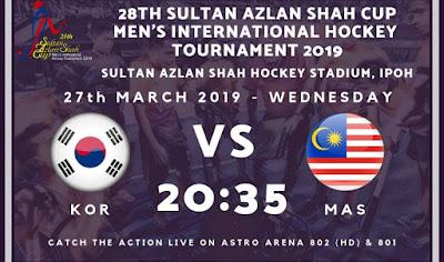 Live Streaming Korea Selatan vs Malaysia Hoki Piala Sultan Azlan Shah 27.3.2019