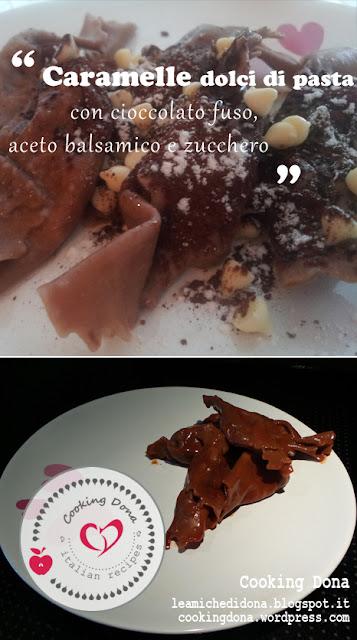 dolci di carnevale: caramelle dolci di pasta con cioccolato fuso, aceto balsamico e zucchero