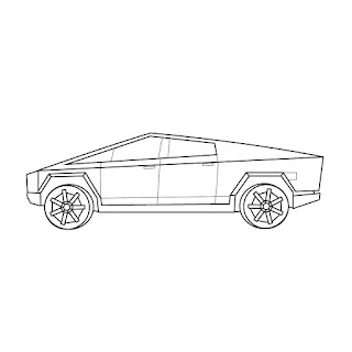 The Tesla Cybertruck Pickup Truck side view vector line drawing