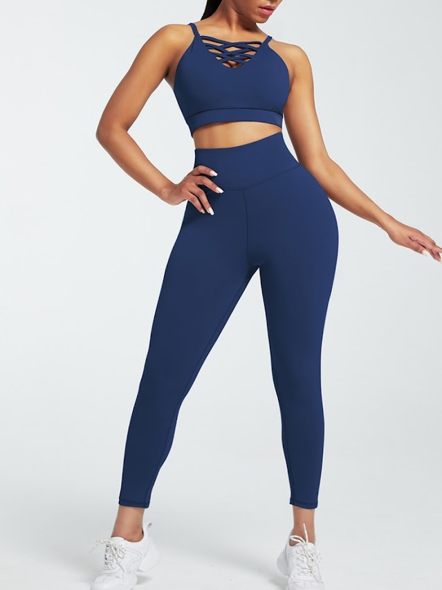 Navy Blue Lace-Up Pleated Gym