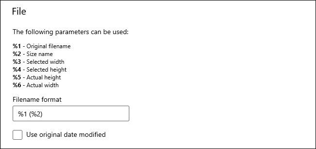 """خيارات """"ملف"""" في وحدة PowerToys Image Resizer."""