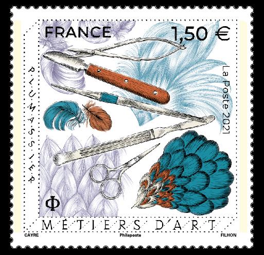 timbre Métiers d'Art Plumassier