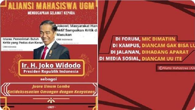 Aliansi Mahasiswa UGM Beri Jokowi Gelar 'Juara Ketidaksesuaian Omongan dengan Kenyataan'