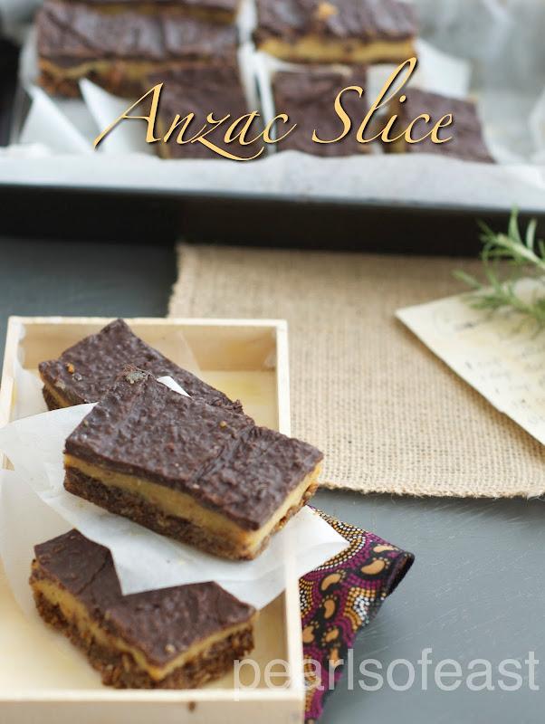 Caramel Chocolate Anzac Slice
