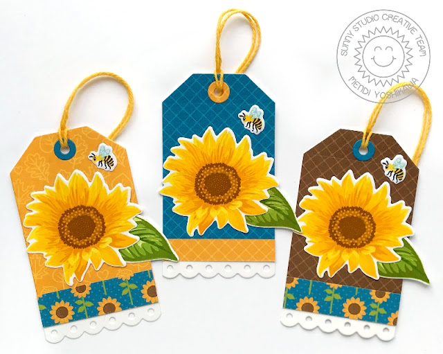 Sunny Studio: Sunflower Fields Layered Flower & Bumble Bee Gift Tags (using Build-A-Tag dies & Colorful Autumn 6x6 Paper)