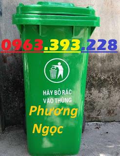 Thùng đựng rác công cộng 120L, thùng rác 2 bánh xe, thùng rác nhựa HDPE 120 Lít TR120L3