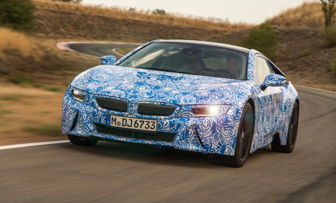 BMW i8 prototype front view on the move