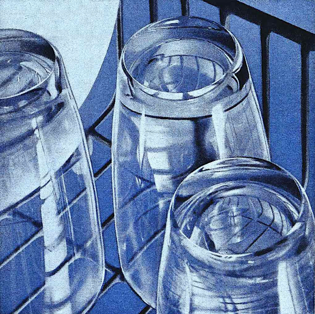 a 1960 illustration of washed and inverted drinking glasses in blue