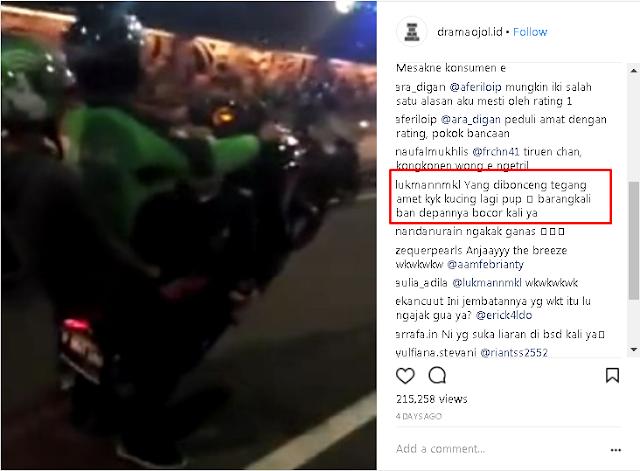 Netizen: Mungkin Ban Depan Motornya Bocor, Video Driver Ojek Online Bawa Penumpang Sambil Freestyle