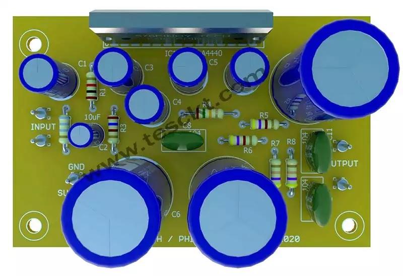 la4440 amplifier PCB 3D top