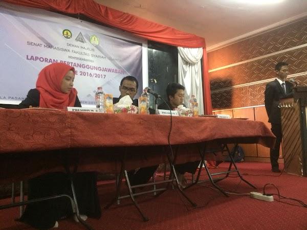 Selenggarakan LPJ, Alhafiz Hasmi Ketua Baru SEMA Fakultas Syari'ah Islamiyah Periode 2017-2018