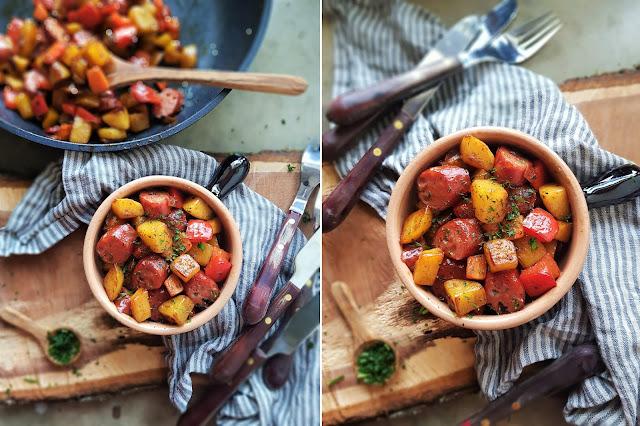 Kartoffel Gemüse Pfanne mit Kabanos