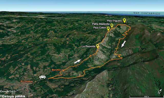 Mapa 3D a la Sierra de Peñamayor desde El Condado en el concejo de Laviana.