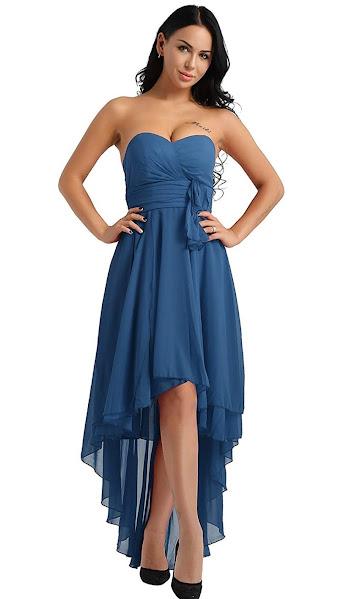 Teal Blue Strapless Chiffon Bridesmaid Dresses