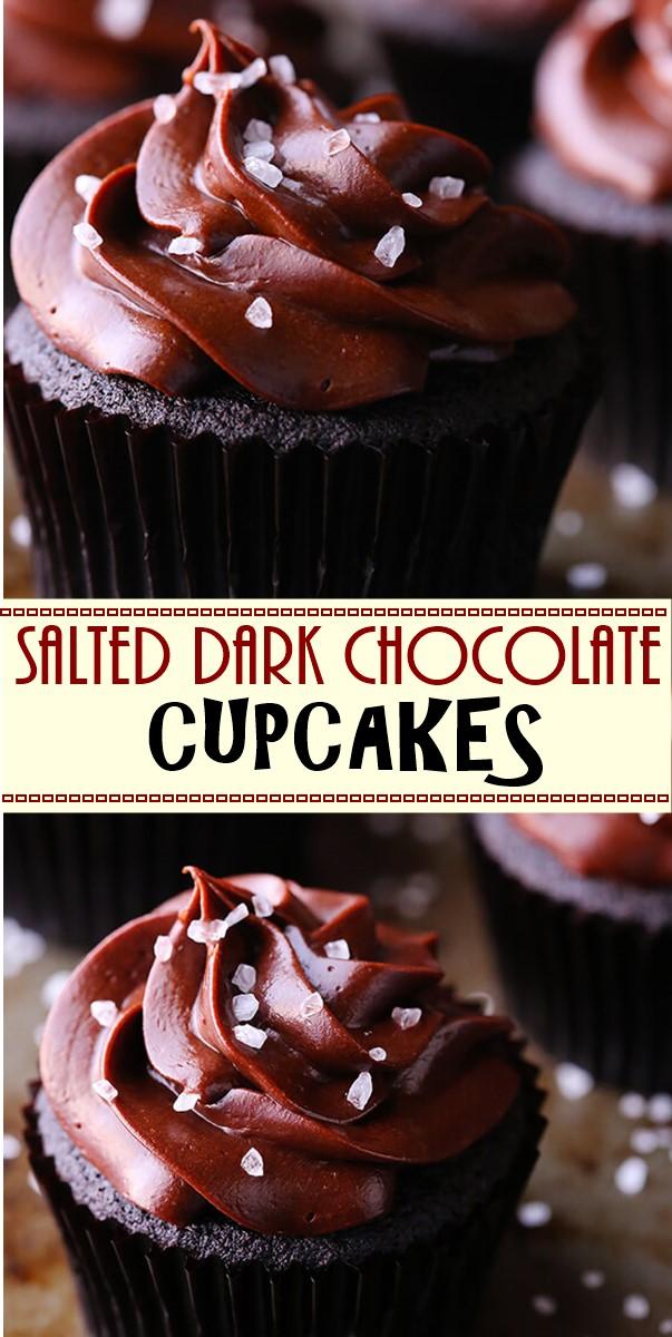 SALTED DARK CHOCOLATE CUPCAKES #cupcakerecipes