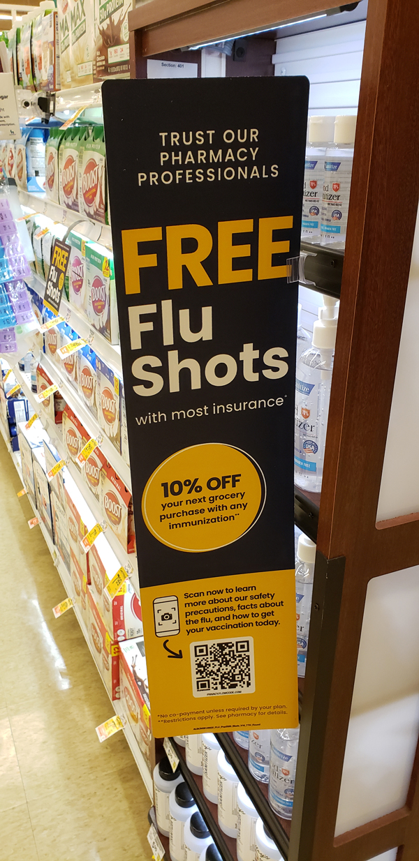 Pharmacy Free Flu Shots QR Code to learn more about safety precautions