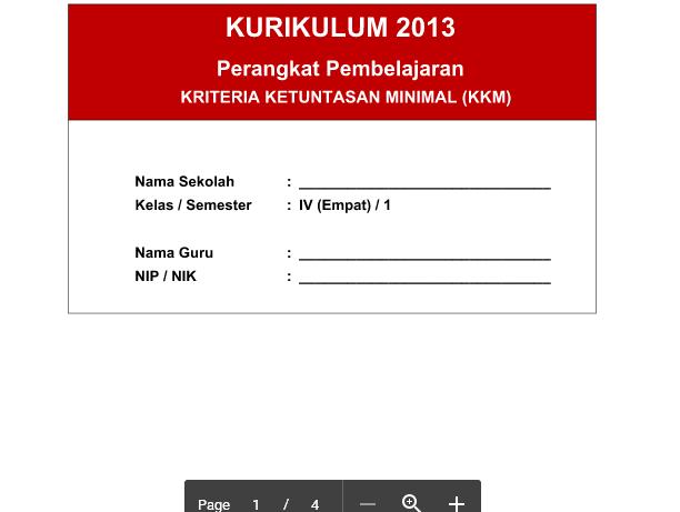 KKM Kurikulum 2013 SD kelas 4 PJOK Semester 1 Revisi Tahun 2016