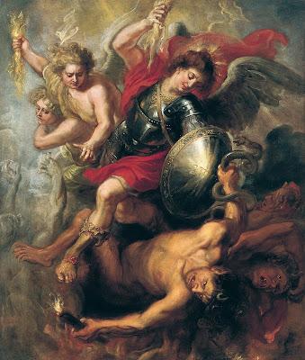 Imagem de São Miguel expulsando Lúcifer e o anjos rebeldes, pintura, #1