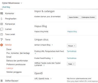 Cara setting menu lainnya pada setelan Blogger
