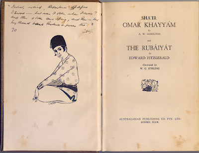Image of Boxall Rubaiyat opened at the inscription and title page showing handwritten verse
