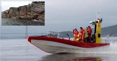 RS Uddevallas båt med besättning till sjöss med Mollön infällt i bilden