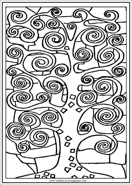 tree of life gustav klimt painting arts coloring pages for adults printable