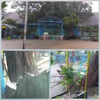 Akibat Hujan Deras Pohon Tumbang Hantam Gedung SDI BTN IKIP