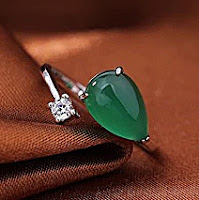 Jade diamond silver ring