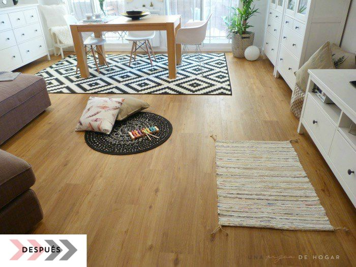 cómo colocar suelo vinílico con sistema click, el resultado. Salón con muebles de ikea y suelo Tarkett de Leroy Merlin