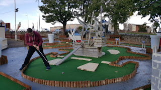 Richard Gottfried playing the Pirates Skull hole at the Rhos Fynach Crazy Golf course in Rhos on Sea on Miniature Golf Day