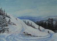 Skieurs descendant une pente courbée, huile 12 x 16, par Clémence St-Laurent